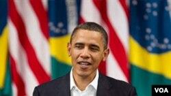 Presiden AS Barack Obama menyampaikan pidatonya di Rio de Janeiro, Minggu (20/3).