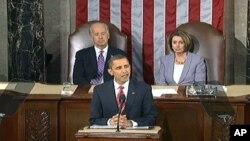 美国总统奥巴马向国会发表首次国情咨文