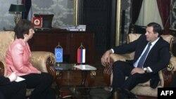 Visoka predstavnica EU Ketrin Ešton i predsednik Republike Srpske Milorad Dodik tokom susreta u Banjaluci