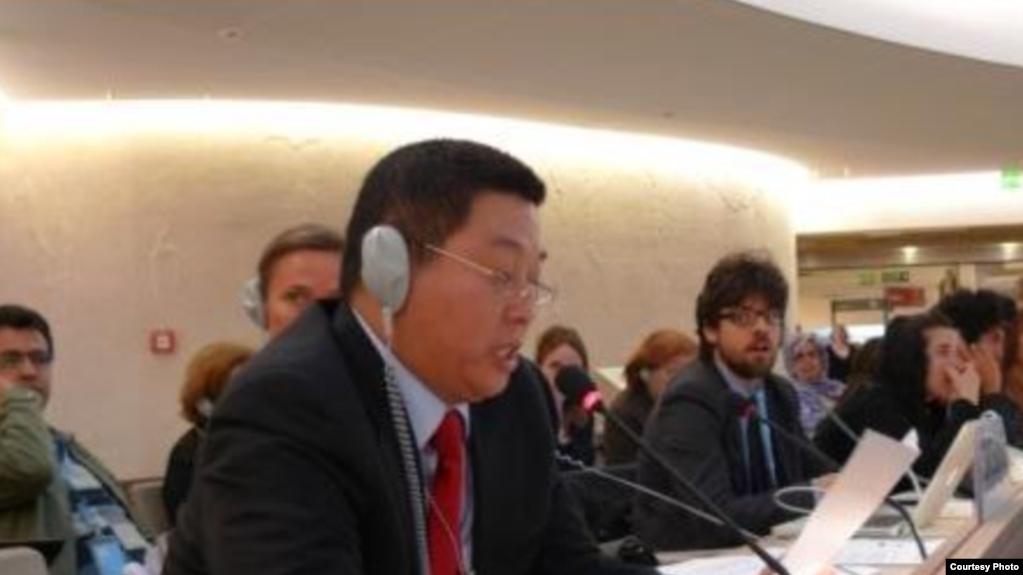 楊建利2018年3月20日在聯合國人權理事會會議上發言 (聯合國觀察照片)