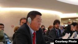 杨建利2018年3月20日在联合国人权理事会会议上发言(联合国观察照片)