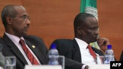 Lead South Sudan peace talks mediator Seyoum Mesfin (l) and Taban Deng Gai, the lead negotiator for Riek Machar's armed opposition group at an earlier round of the IGAD-led talks.