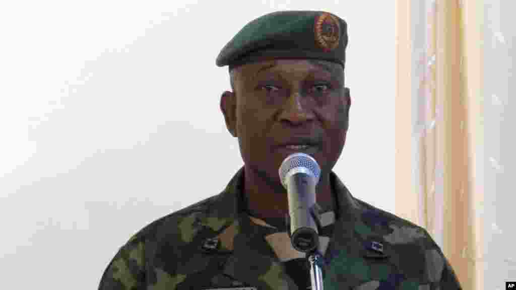 Army spokesperson, Brigadier General Chris Olukolade, talks during a news conference after a military patrol near a village in Maiduguri.