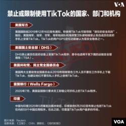 禁止或限制使用TikTok的國家,部門和機構