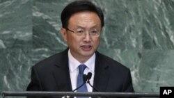 """Trong bài phát biểu tại Ðại hội đồng LHQ, ông Dương Khiết Trì nói rằng việc Nhật Bản mua hòn đảo này """"vi phạm thô bạo"""" chủ quyền của Trung Quốc"""