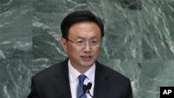 Menteri Luar Negeri Tiongkok, Yang Jiechi berpidato di hadapan Majelis Umum PBB (27/9).