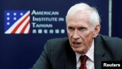 美国在台协会(AIT)主席莫健(James Moriarty)接受媒体参访(2019年4月18日 资料照片)