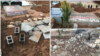 Collage of photos shared on social media, appearing to show the Dec. 17, 2020, aftermath of Iranian authorities' destruction of walls at the gravesite of wrester-turned-opposition activist Navid Afkari. (VOA Persian)