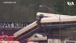 VOA英文视频:华盛顿州列车脱轨坠入公路 据报有多起伤亡