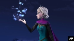 "Elsa the Snow Queen, voiced by Idina Menzel, in a scene from the Oscar-nominated movie ""Frozen."""