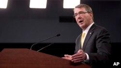 Bộ trưởng Quốc phòng Mỹ Ashton Carter phát biểu trong cuộc họp báo tại Ngũ giác đài ngày 20/8/2015.