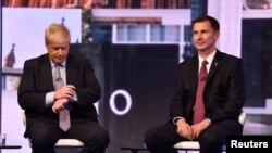 Boris Johnson et Jeremy Hunt lors d'un débat télévisé à Londres le 18 juin 2019.