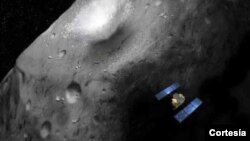 Reproducción artística de la sonda Hayabusa-2 a bordo de la cual viajará el cañón espacial.