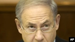 Israeli Prime Minister Benjamin Netanyahu at the weekly cabinet meeting in his Jerusalem office, 24 Oct 2010