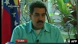 法新社电视显示委内瑞拉副总统兼外长马杜罗2013年1月1日在哈瓦那接受一次访问的图像