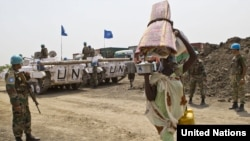 United Nations troops protect civilians in Jonglei state in April.