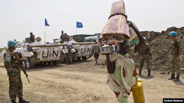 United Nations troops protect civilians in Jonglei state,  where David Yau Yau's rebels claim to be on the verge of taking Pibor town and preparing to send troops to attack the state capital, Bor.