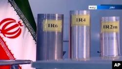 지난해 6월 이란 관영 TV가 공개한 신형 3 종류의 신형 원심분리기.