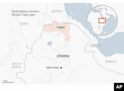 Map of the Tigray area