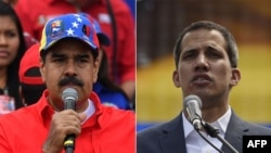 Foto kombinasi: Presiden Venezuela Nicolas Maduro (kiri) di Caracas, 2 Februari 2019, dan Pemimpin Oposisi Venezuela Juan Guaido (kanan) di Caracas, 2 Februari 2019.