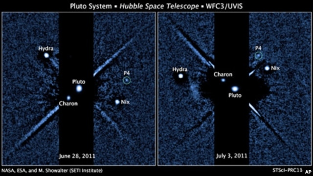 Two images, taken about a week apart by NASA's Hubble Space Telescope, show four moons orbiting the distant, icy dwarf planet Pluto