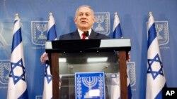 بنیامین نتانیاهو، نخستوزیر اسرائیل، در تاریخ ۱۸ نوامبر ۲۰۱۸ در تلآویو در حال سخنرانی است.