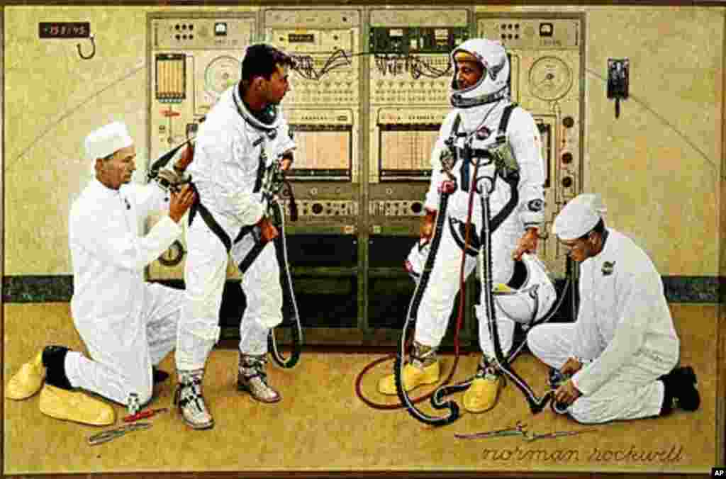 Astronauts John Young and Gus Grissom are suited for the first flight of the Gemini program in March 1965. NASA loaned Norman Rockwell a Gemini spacesuit in order to make this painting as accurate as possible. (Smithsonian National Air and Space Museum)