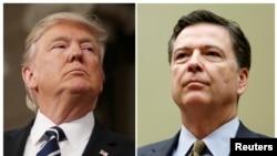 Une combinaison montrant le président Donald Trump, le 28 février 2017, à gauche, et l'ex-directeur James Comey, le 7 juillet 2016