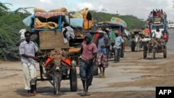 FILE - Men are seen escorting donkey carts in southern Mogadishu, Somalia, Oct. 12, 2011. Nine donkeys pulling carts with supplies to a government-controlled area have reportedly been shot dead by al-Shabab militants in the country's Bakool region.