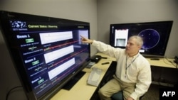 Senior software engineer Jon Richards shows data collected by the Allen Telescope Array at the SETI Institute in Mountain View, California, last April