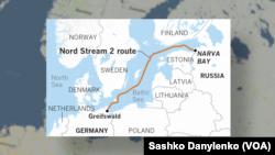 Карта Північного потоку