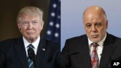 Presiden Amerika Donald Trump (kiri) dan PM Irak Abadi (Foto: dok).