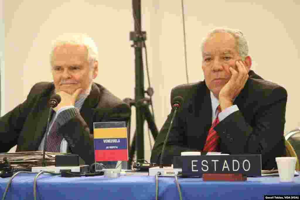 Luis Britto, abogado representante del Estado venezolano (izq.) y Germán Saltrón, agente del Estado para Derechos Humanos, durante la sesión sobre la libertad de expresión en Venezuela organizada por la Comisión Interamericana de Derechos Humanos.
