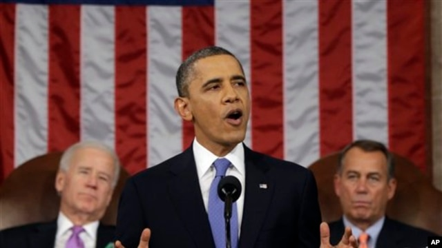 President Barack Obama gives his State of the Union address Feb. 12, 2013.
