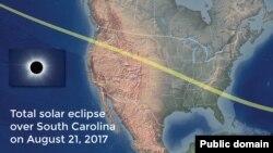 Putanja potpunog pomračenja Sunca proteže se od Oregona do Južne Karoline.
