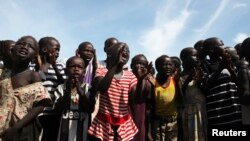 FILE - Children are seen at a U.N.-run internally displaced persons camp in Juba, South Sudan, May 6, 2014.
