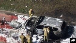 19일 러시아 타타르스탄 주에서 벌어진 이슬람교 성직자를 겨냥한 차량 폭탄테러 현장.