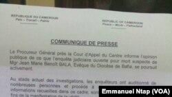 Communiqué du procureur général Jean Fils Ntamack, 4 juillet 2017.