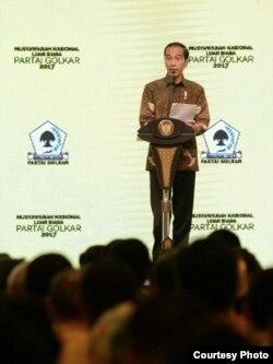 Presiden Joko Widodo di JCC, Jakarta, Senin, 19 Desember 2017, membuka acara Rapimnas dan Munaslub Partai Golkar. (Foto: Biro Pers Istana)