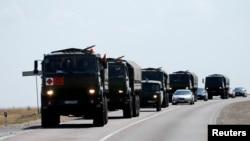 Đoàn xe quân sự của Nga bên ngoài thị trấn Kamensk-Shakhtinsky, vùng Rostov, 16/8/2014.
