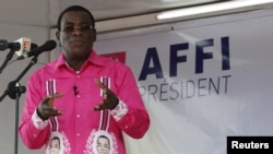 "FILE - FPI leader Pascal Affi Nguessan, shown campaigning last October in Gagnoa, Ivory Coast, says his delegation's meeting with President Alassane Ouattara on Jan. 21, 2016, produced ""real progress"" toward resolving differences with the government."
