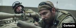 Chris Kyle's best-selling autobiography was turned into the hit film 'American Sniper,' starring Bradley Cooper, in foreground.