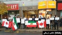 گروهی از معترضان به سیاست های جمهوری اسلامی ایران در کانادا