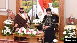 Pope Tawadros II, head of the Egyptian Coptic Orthodox Church, receives Saudi Crown Prince Mohammad Bin Salman in Cairo, March 5, 2018, in this picture courtesy of the Egyptian Presidency.
