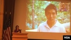 美國國務院次卿莎拉休厄爾在紀錄片放映會中發言,影片中為當知項欠(張蓉湘拍攝)