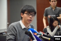 香港眾志秘書長黃之鋒。(美國之音湯惠芸攝)
