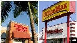 Composición de fotos de los rótulos y tiendas de Office Depot y OfficeMax en Miami.