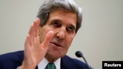 FILE - U.S. Secretary of State John Kerry testifies before the House Foreign Affairs Committee on Capitol Hill in Washington.