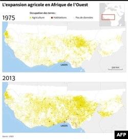 Evolution des terres agricoles et des zones d'habitation entre 1975 et 2013, selon des données de l'USGS.