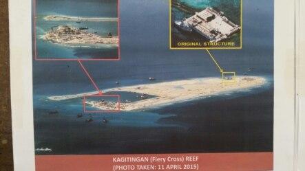 2015年4月11日菲律宾军方图像显示中国在南沙永暑(Kagitingan Reef)岛/礁造岛
